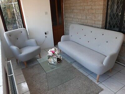£250 • Buy Habitat Scandinavian Style Sofa And Chair With Button Back Detail In Grey Fabric