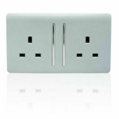 £11.50 • Buy Trendi Switch 2 Gang 13Amp Electrical Long Switched Plug Socket - Silver