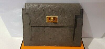 AU1699 • Buy 100% Auth Hermes Epson Kelly Pocket Wallet In  Gris Etain Color With GHW