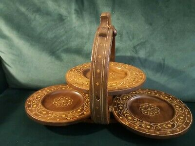 £35 • Buy Unusual Vintage Arts & Crafts Wooden Table Top Inlayed Folding Cake Stand