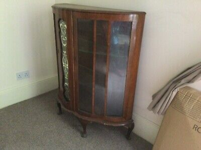 £25 • Buy Glass Display Cabinet In Dark Wood And Glass In Excellent Condition Bow Fronted