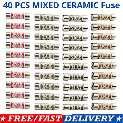 £2.89 • Buy 40x Mixed Ceramic Domestic Electric Fuses Plug Household Cartridge Fuse