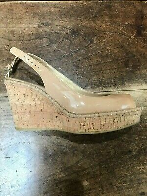 £8 • Buy Stuart Weitzman For Russell And Bromley Blush Patent Cork Wedges