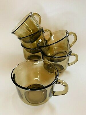 £12.99 • Buy Set Of 6 Arcoroc France Vintage Retro Smoked Glass Cups