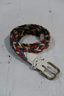 £1.45 • Buy Vtg Belt Womens Small Rainbow Capezio Braided Leather Boho Woven Colorful