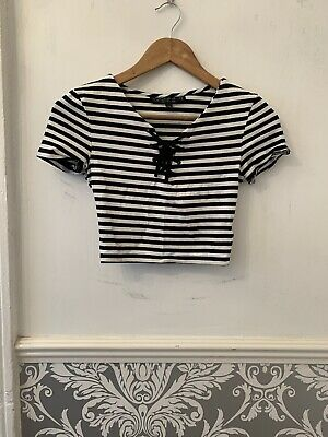 £5 • Buy Topshop Petite Size 6 Striped Tie Front Cropped Tee Tshirt Top