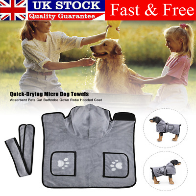 £13.59 • Buy Small Medium Dog Quick Dry Micro Towels Pets Cat Bathrobe Gown Robe Hooded Coat