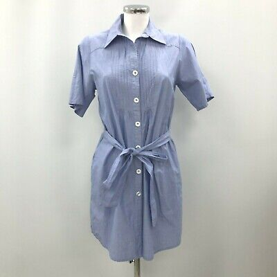 £6.99 • Buy Whistles Shirt Dress UK 10 Collared Button Up Tie Waist Blue Smart Casual 240829