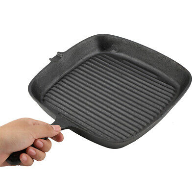 £17.52 • Buy Griddle Steak Frying Pan Grill Cast Iron Non Stick Skillet Cooking Fry Square UK