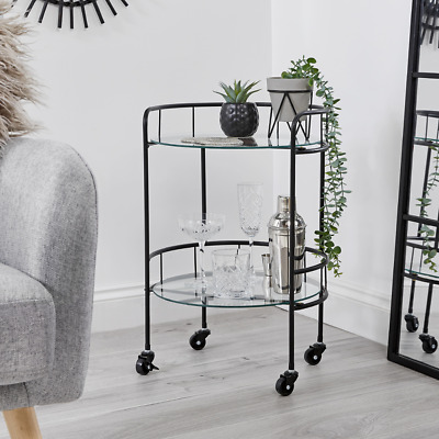 £36.99 • Buy Drinks Trolley With 2 Tiers 30's Art Deco Vintage Home Bar Cart - Black