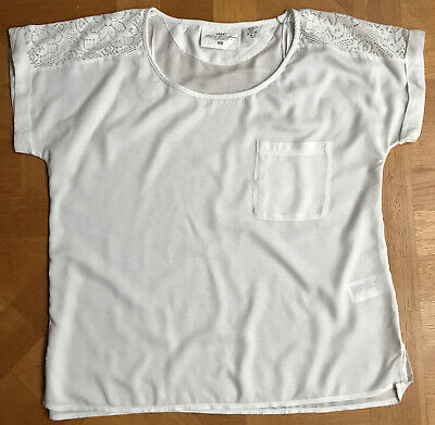 £0.99 • Buy H&M Logg UK 14 Short Sleeve 100% Viscose Ivory Top With Lace Details