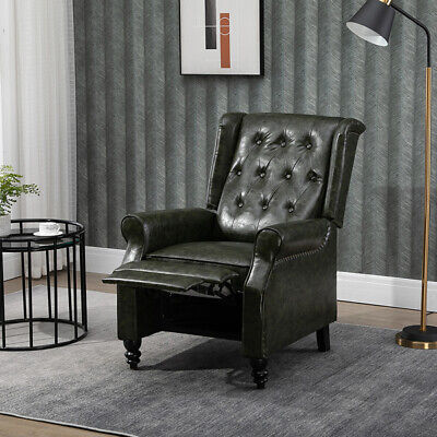 £220.99 • Buy Luxury PU Leather Recliner Chair Wing Back Occasional Armchair Sofa Retro Green
