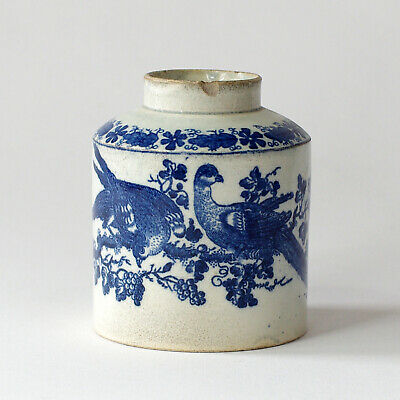 £9.99 • Buy Antique English Pearlware Tea Caddy With Transfer Decoration Of Birds Circa 1800