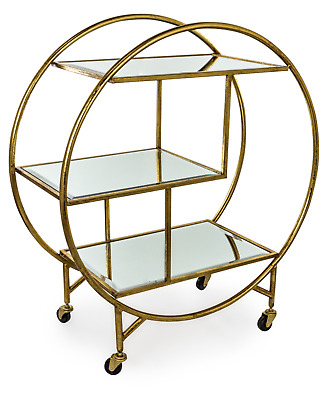 £150 • Buy Antique Gold Leaf Metal Drinks/Bar Trolley With Mirror Shelves