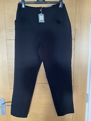 £8 • Buy Oasis Black Cropped Slim Trousers Size 14 New With Tags Ruffle Pocket