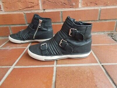 £4.99 • Buy ASH Black LEATHER Strappy Hi-Top Trainers * 5 Uk *