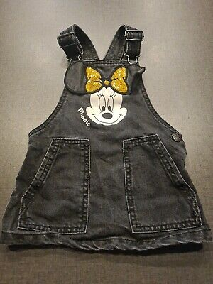 £3.99 • Buy Girls 12-18 Months Mickey Mouse Denim Dress Dungaree Skirt Pinafore Next Day