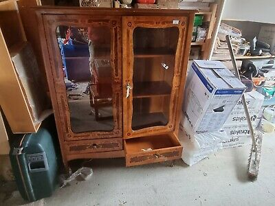 £120 • Buy Vintage Side Cupboard Display Cabinet With Glass 2 Shelves