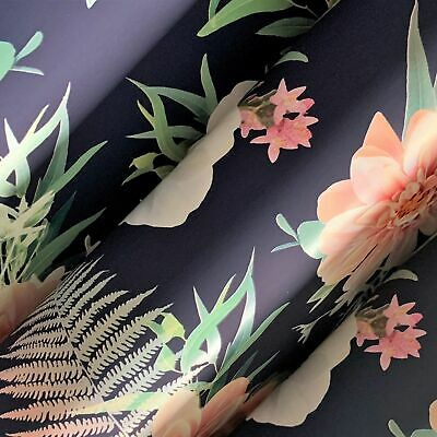 £2.57 • Buy Dark Blue Floral Gift Wrapping Paper Sheets 700mm X 500mm