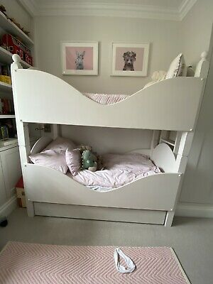 £100 • Buy Childrens Sleigh Bunk Bed With Trundle Drawer - Can Be Split Into Twin Beds