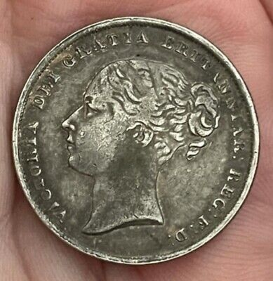 £5.78 • Buy 1850 Queen Victoria Young Head Shilling ~ Silver Plated Coin