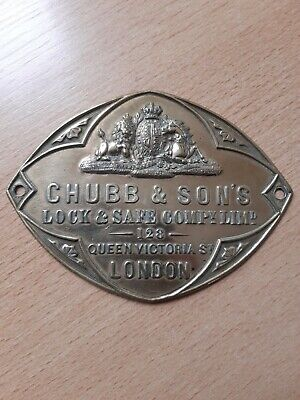 £25 • Buy Chubb & Sons Queen Victoria St 128 London Antique Brass Safe Sign Plaque