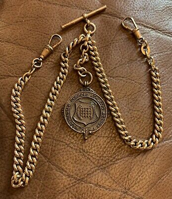 £16 • Buy Antique Rolled Gold Double Albert Watch Chain & Fob