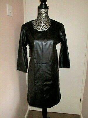 £8.50 • Buy Ladies PRINCIPLES Stunning Black Faux Leather Dress Size 18 BNWT