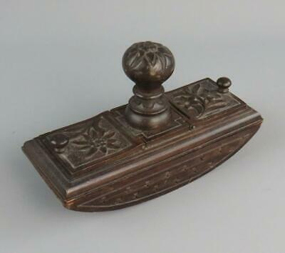 £44.95 • Buy Antique Black Forest Hand Carved Desk Ink Blotter Twin Hinged Stamp Compartments