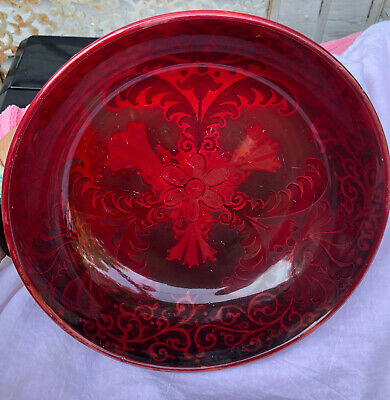 £171.84 • Buy Bernard Moore Red Glazed 8  Pottery Bowl With Distinctive Feather Design