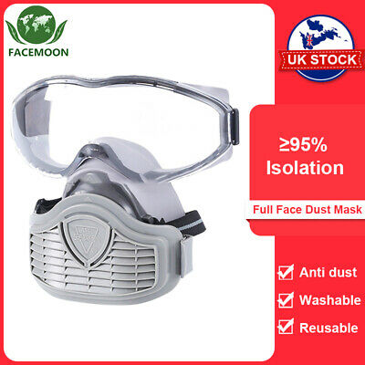 £19.99 • Buy Washable Full Face Gas Mask Paint Spray Anti-Dust Reusable Respirator 95% Filter