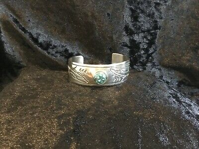 £85 • Buy  Silver Native American Turquoise Cuff By Tom Willotte