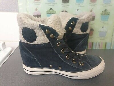 £23 • Buy Womens Black Suede Wedge Converse All Star Hi Tops Size 5