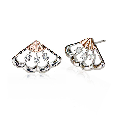 £69.95 • Buy Clogau Silver Stud Earrings Peacock White Topaz 925 Sterling Welsh 9ct Rose Gold