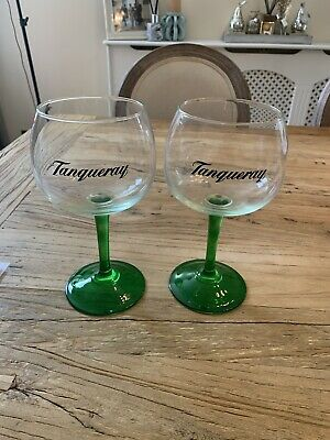 £9.99 • Buy 2x Tanqueray Balloon Gin Green Stem Glasses (New)