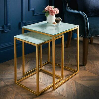 £64.99 • Buy Gatsby Glass Marble Nest Of 2 Tables Add Style And Character To Your Living Room