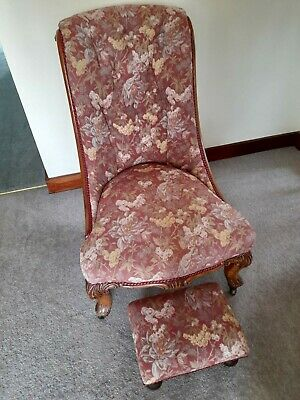 £100 • Buy Victorian Antique Nursing Chair With Foot Stool