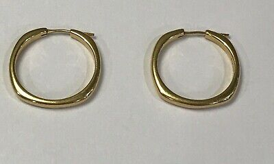 £1054.78 • Buy TIFFANY & Co.18K Yellow Gold Square Cushion Collection Hoop Earrings Large!!!