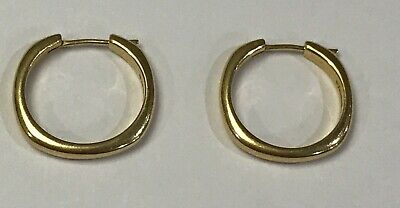 £727.43 • Buy TIFFANY & Co.18K Yellow Gold Square Cushion Collection Hoop Earrings!!!