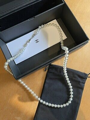 £350 • Buy Authentic Chanel Pearl Necklace Cc With Chanel Camillia And Black Box