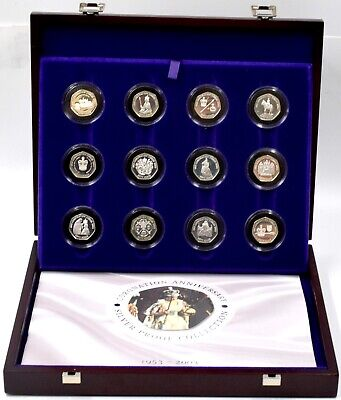 £349.95 • Buy Silver Proof 12 X Coin Set  2003 Queens Coronation Anniversary 50p Fifty Pence