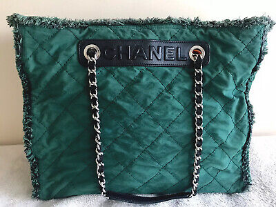 AU968 • Buy CHANEL Authentic Green Canvas Leather And Tweed Trim Tote Rare