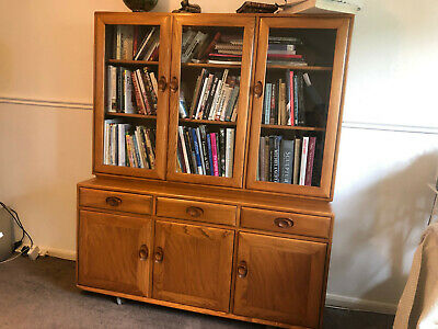 £550 • Buy Ercol Three Glazed Door Bookcase Drawers And Cupboards. Solid Elm.