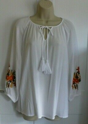 £6.99 • Buy GEORGE White Peasant Style Blouse LS Floral Embroidery V Neck Top Size 14 (EUC)
