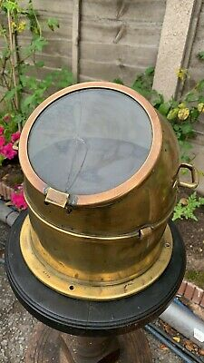 £124.99 • Buy Beautiful Vintage Brass & Glass Helmet Ships Boat Compass Cover (C3)
