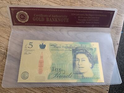 £3 • Buy £5 Five Pound 24K Gold Leaf Collectable Note & COA Sleeve Certificate. UK SELLER