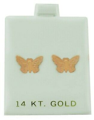 £21.26 • Buy Butterfly Stud Earrings Solid 14k Rose Gold ** Made In Usa **