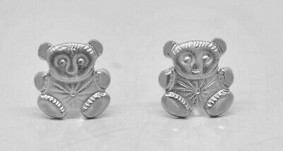 £21.99 • Buy Bear Stud Earrings Solid 14k White Gold ** Made In Usa **