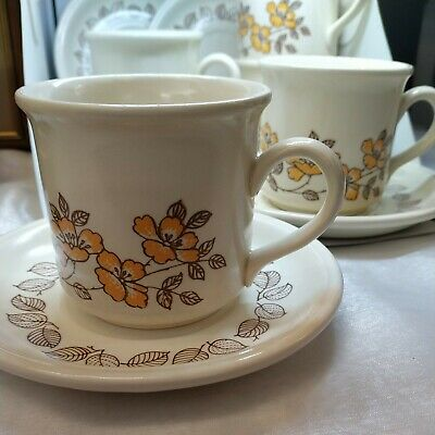 £7 • Buy Retro Biltons Brown & Yellow Floral Designed Ironstone 4 Cups & Saucers. Vgc.