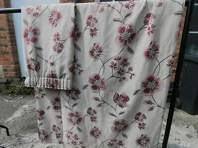 £60 • Buy Two Pairs Curtains, Montgomery, Modern Beige W Red Flowers, 183 X 165cm, 6'x5'6